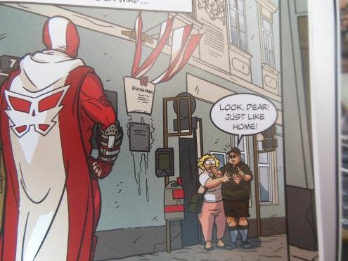 Für US-Touristen gehören Superhelden natürlich zum Straßenbild.